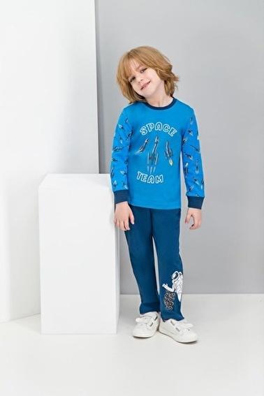 Roly Poly Rolypoly Astronot Space Team Cobalt Mavi Erkek Çocuk Pijama Takımı Mavi
